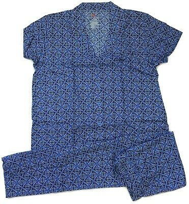Hanes Womens Blue Damask Coat-Style Woven 100% Cotton Pajamas Size XL