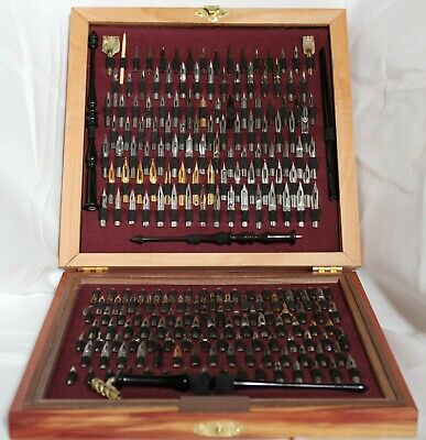 210 Nib Dip Pen Set: Handcrafted Wood Case w/ 3 Custom Ebony Pens +1 Vintage Pen