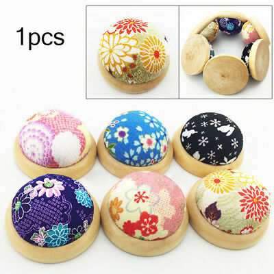 KQ_ Wooden Bottom Base Needle Pin Cushion Pillow Sewing Craft Stitch Holder Tool
