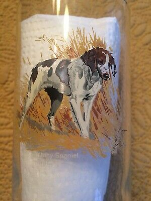 Vintage Collectible 12oz Brittany Spaniel Dog Tumbler Glass