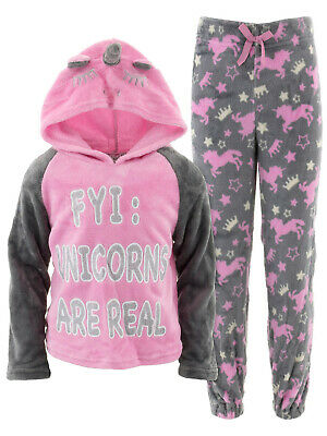 1233adc2c Delia*s Unicorns are Real Pink Hooded Pajamas for Girls Mismatched Set Top  7-