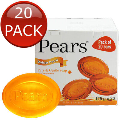 20 x PEARS AMBER TRANSPARENT SOAP GENTLE CARE DERMATOLOGIST TESTED SKIN 125g