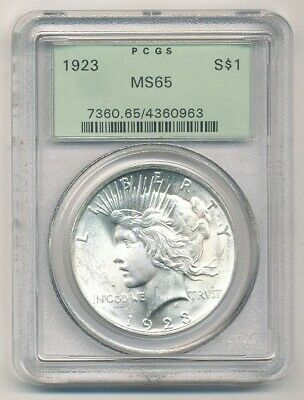 1923 Peace Silver Dollar PCGS MS 65 Old Green Holder Exact Coin Shown