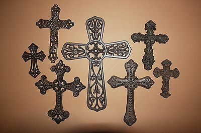 (7)pcs, CAST IRON CROSS WALL DECOR COLLECTION, CHRISTIAN HOME GIFT, CROSSES
