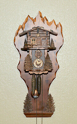 Vintage German Highly Carved Black Forest Double Weight Driven Cuckoo Wall Clock