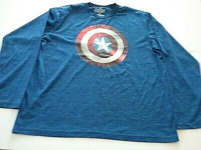 Marvels Avengers Age of Ultron Shirt Sz L Blue Captain America Long Sleeve