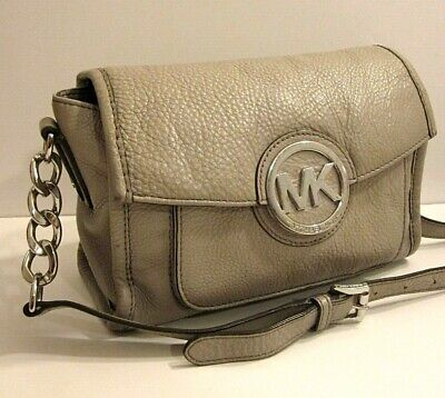 b03cecb0c36e Michael Kors Fulton MK Logo Grey Leather Crossbody Shoulder Bag Purse