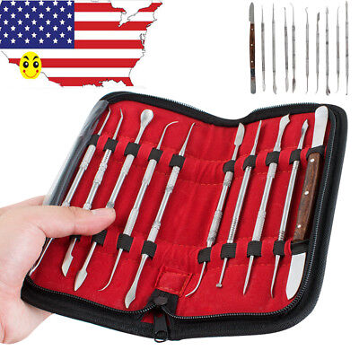 USA Dental Lab Stainless Steel Kit Wax Carving Tool Set Instrument  10pcs Newest
