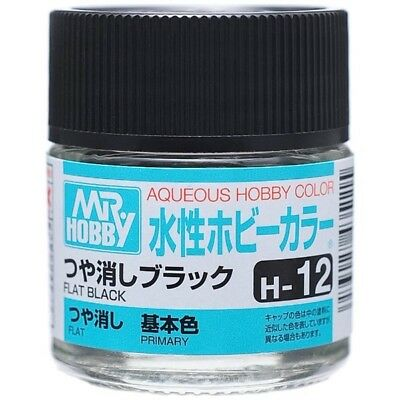 MR HOBBY GUNZE AQUEOUS COLOR ACRYLIC H12 Flat Black MODEL KIT PAINT 10ml