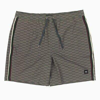 8fb74bb626 New Kith Tilden Swim Trunks Size XL Men Cinder All Over Box Logo Brown  Stripe