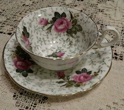 Vintage Aynsley Pink Cabbage Rose Chintz Wide Mouth Tea Cup & Saucer