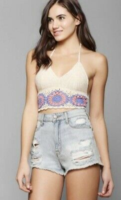 b65233d8bd6f7a ECOTE URBAN OUTFITTERS Embroidered Aztec Crop Top 100% Rayon Size S ...