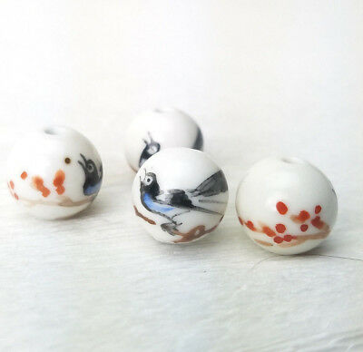 Vintage Unusual Bird and Branch Hand Painted Porcelain Beads 14mm 2Pcs