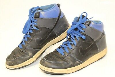 c8b553c8b58f3 NIKE USED MENS 9.5 Blue Black 2008 Retired Leather High Tops Sneakers Shoes