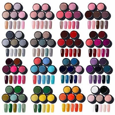 LEMOOC 5 Colors Set Gel Nail Polish Glitter Pink UV LED Gel Varnish Kit