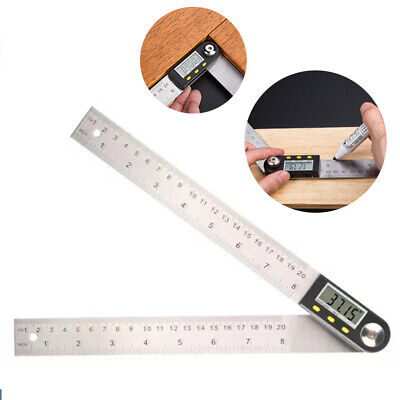 2-in-1 Digital Angle Finder Stainless Ruler Protractor Steel Gauge Measure E7L2R
