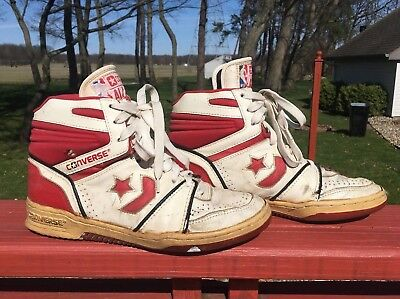 a40db06d47a5 Vintage 1980s Leather Converse Basketball High Top NBA All Star Shoes Sz 9  Cons