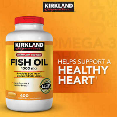 Kirkland Omega-3 Fish Oil 1000 mg 400 tablets softgels FREE SHIPPING WORLDWIDE