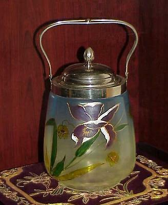 ART GLASS BISCUIT JAR VICTORIAN ENAMELED Iris Hand Painted Handled Antique