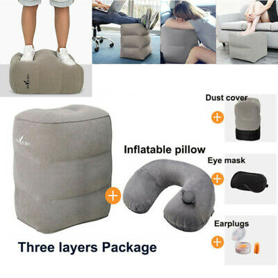 Inflatable Office Travel Foot Rest Cushion Kid Pillow Bed Pad Package Comfort