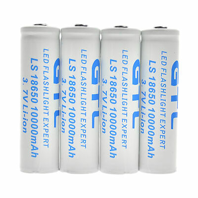 4pcs 18650 Battery 10000mAh Li-ion 3.7V Lithium Rechargeable Battery WHITE led
