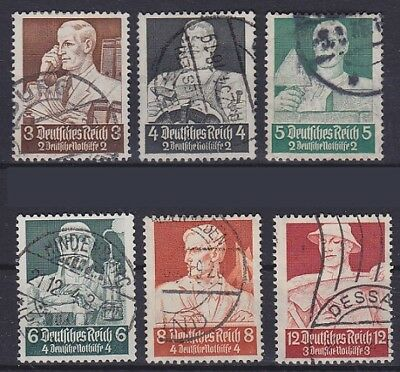 DR Mi Nr. 556, 557, 558, 559, 560, 561, gest. Dessau etc., Nothilfe 1934, used