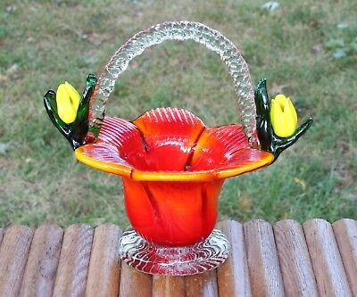 """Vintage Art Glass Basket Orange With Flowers Hand Crafted Candy Dish 6"""" Tall"""