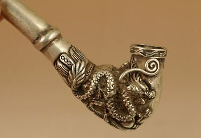 Old Chinese Tibet Silver copper Smoking Tool Statue Sacred Dragon Head pipe