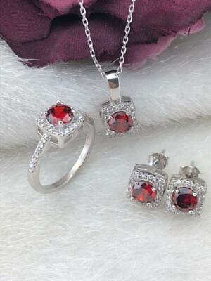 925 Sterling Silver  AAA Quality Jewelry Round Ruby Full Set