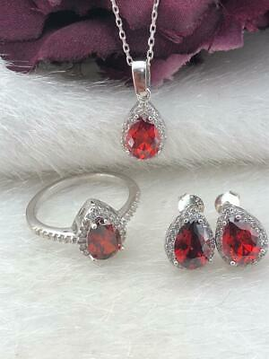 925 Sterling Silver  AAA Quality Jewelry Drop Ruby Full Set
