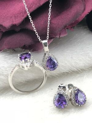 925 Sterling Silver  AAA Quality Jewelry Drop Amethyst Full Set