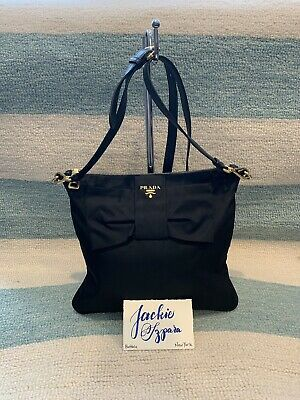 f8fbbb77d2dd AUTHENTIC BLACK PRADA Nylon Crossbody W/Bow Handbag Clutch US SELLER ...