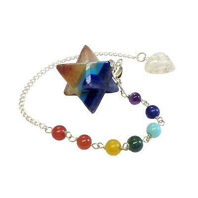 FindSomethingDifferent Chakra Gemstone Layer Merkaba Pendulum/Bracelet in Pouch