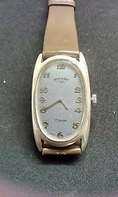 Vintage Rotary Art Deco Solid Silver Swiss Hand Wind Watch Immaculate Condition