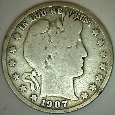 1907 S Barber Silver Half Dollar 50 Cent US Type Coin Good K54