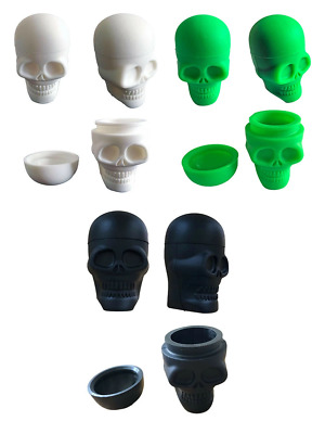 SKULL SILICONE SKELETON Stash Pot Container Jar Wax Oil BHO Shatter Dab Non  Stic