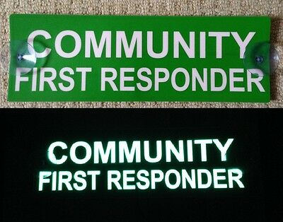 Community First Responder Illuminated Car Visor Window Ambulance Sign St Johns