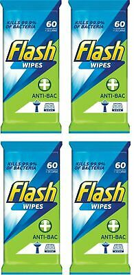 4 x Flash Strong Weave Anti Bacterial Cleaning Wipes Pack Of 60