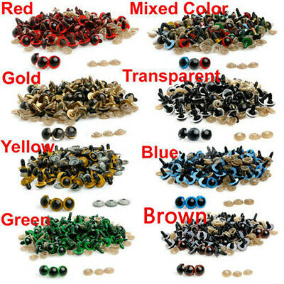 100 Pcs 8-20mm Plastic Safety Eyes for Teddy Bear Doll Animal Puppet Craft Grace