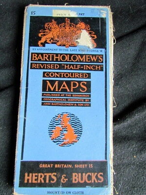 "Bartholomews Revised ""Half-Inch"" Contoured Cloth Map Herts & Bucks 1950"