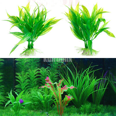 2pc Artificial Water Aquatic Green Grass Plant Lawn Aquarium Fish Tank Landscape