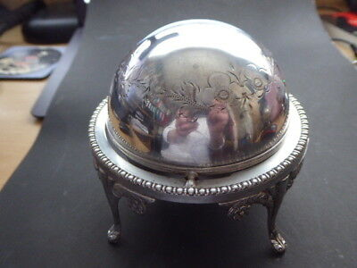 Antique Silver Plated Roll Top Dome Butter Dish Lion Paw Feet