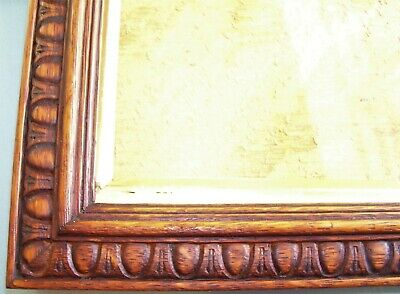 Small Antique Victorian Arts & Crafts Oak Gilt Picture Frame Old Glass C.1900