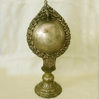 Antique Reflecting Copper Brass Mirror With Snake Naga Altar Piece Nepal Tibet