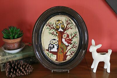 Vintage Owl Needlepoint in Oval Frame, Embroidered Cross Stitch Picture, Chippy