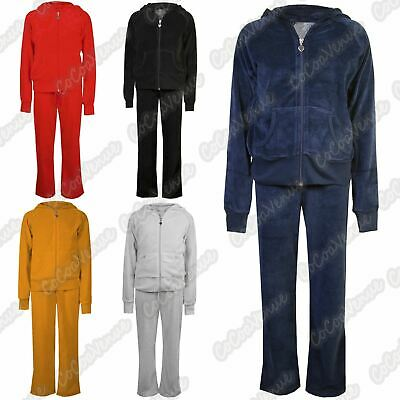 New Girls Velvet Velour Hooded Zip Up Top Bottom Suit Kids Lounge Wear Tracksuit