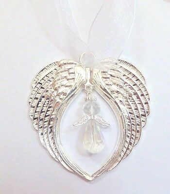 Bright Silver Guardian Angel Wings Gift Crystal Angel Remembrance Memorial Gift