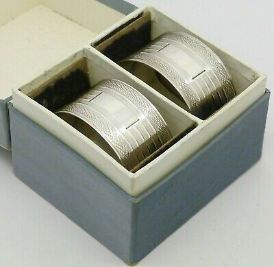 2 Elegant Boxed Solid Silver Napkin Rings Hm 1979 No Engravings Great 40Th Gift!