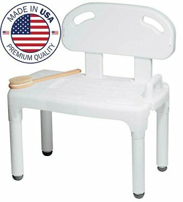 Medical Bathtub Shower Transfer Bench Chair Seat with Backrest, Made in USA