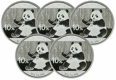 Lot of 5 - 2017 30 gram Silver Chinese Panda .999
